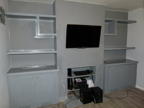 dark grey fitted designer alcove units
